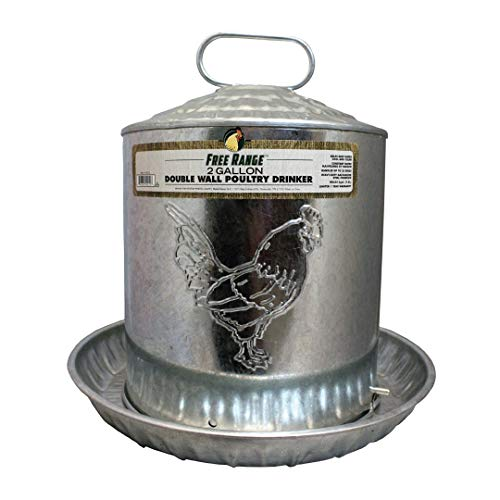 Harris Farms Galvanized Steel Double Wall Poultry Drinker   Automatic Poultry Water   Keeps Water Cool and Clean   2 Gallons