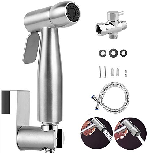 Powstro Handheld Bidet Sprayer for Toilet, Wall/Toilet Mount Stainless Steel Baby Cloth Diaper Sprayer Set for Personal Hygiene Cleaning, Feminine Wash and Pet Bathing