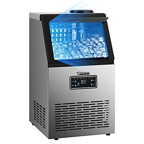 Anbull Commercial Ice Maker Machine, 154LBS/24H with 25LBS Ice Storage Capacity, Stainless Steel Clear Ice Cube Maker Ideal for Home/Kitchen/Office/Restaurant/Bar/Coffee Shop