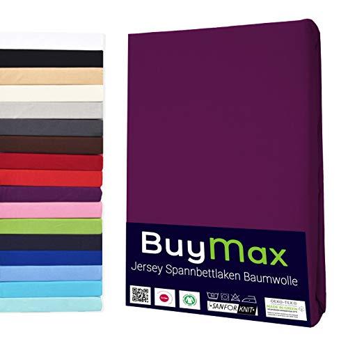 Buymax Spannbettlaken 180x200-200x200 cm Spannbetttuch Bettlaken 100% Baumwolle Jersey Bettbezug für Matratzen bis 25 cm Steghöhe, Aubergine