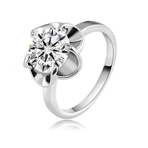 Anyeda Versilbert Ring Ring Yoga Runden Ring Weiß Gold Ringe Paar 585 Ringgröße 57 (18.1)