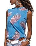 TTYLLMAO Blusa de verano sin mangas con estampado floral para mujer