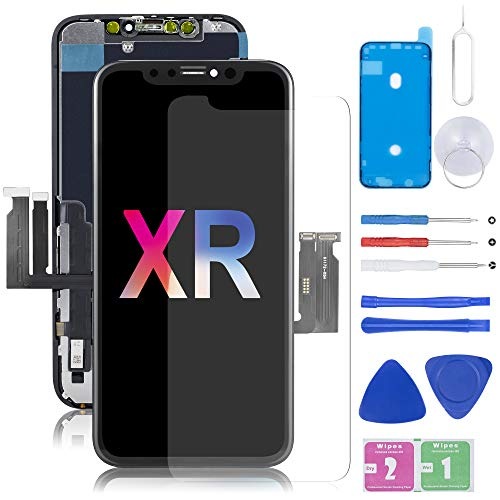 Compatible with iPhone XR Screen Replacement, LCD Display, 3D Touch Screen Digitizer with Complete Repair Kit, Including Tempered Glass, Repair Tools, Waterproof Adhesive, for iPhone XR 6.1inch