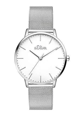 s.Oliver Damen Analog Quarz Armbanduhr mit Edelstahl Armband SO-3444-MQ