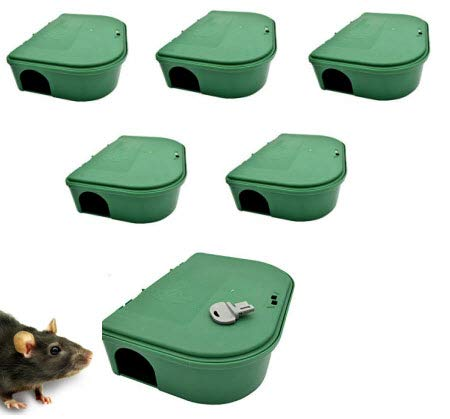 Exterminators Choice Six Bait Stations and One Key Included Bait Box Heavy Duty for Rats Mice and Other Pests Bait not Included