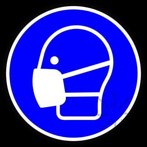 20cm! 3Stück! Klebe-Folie Wetterfest Made-IN-Germany: Maske-Schutz-Piktogramm-DIN EN ISO 7010-M016 C157 UV&Waschanlagenfest Auto-Aufkleber Profi-Qualität!