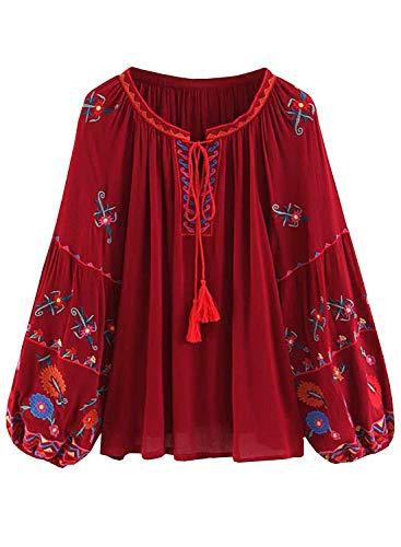 Doballa Damen Blumenstickerei Quaste Vordere Lange Laterne Ärmel Fließende Bluse Shirt Oberteil (M, Rot)