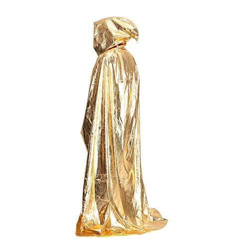SWEET-SUN Halloween capuchon Cape Cloak & Neutrale badjas kostuum, volwassen kinderen & partij, kostuum bal, goud