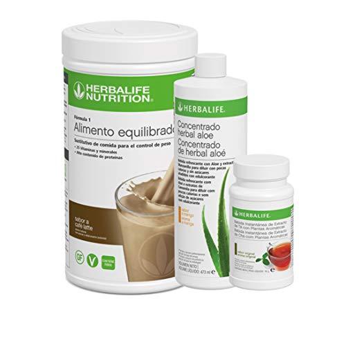Pack AHORRO 3 productos Control de Peso Herbalife. Desayuno nutritivo con complementos alimenticios ricos en proteínas (Caffe latte 550gr)