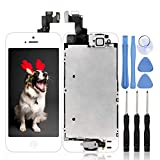 Ayake for iPhone 5S/SE Screen Replacement with Home Button White, Full Assembly Retina LCD Touch Digitizer with Camera+Earpiece Speaker+Sensors+Tools for A1533, A1530, A1528, A1518, A1457, A1453