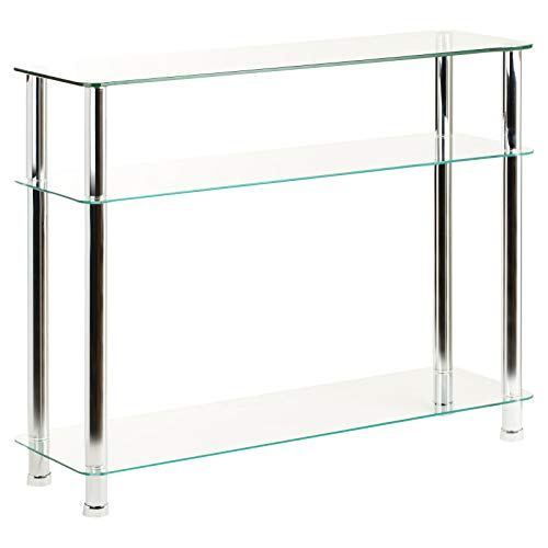 Hartleys Glass 3 Tier Console Table/Shelf Unit - Available in Black or Clear Glass