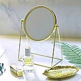 PuTwo Belleza Espejo cosmético, diseño Decorativo, Princesa Estilo de un Solo Lado Espejo – champán Dorado
