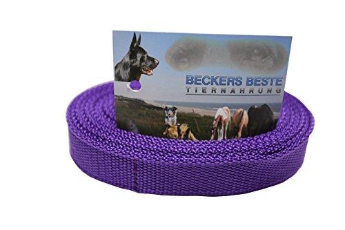 Beckers Beste Tiernahrung Nylonleine Ohne Schlaufe Nylon | Nylon Hundeleine | Nylon Arbeitsleine | Führleine | Trainingsleine | Signal Farben | Langlebig und Sehr Robust (1 m, Lila)
