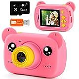 AILEHO Kids Camera for Girls Pink Bear Cartoon Birthday Children Toy Toddler Camera 3-10 Year Old Starter Kids Digital Camera 8M 1080P with 8G Card Kids Video Camera LCD Screen 2.0'