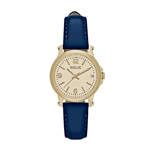 Relic by Fossil Women's Matilda Analog-Quartz Leather Calfskin Strap, Blue, 12 Casual Watch (Model: ZR34349)