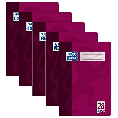 5er Pack Oxford Schule Schulheft DIN A4 16 Blatt Lineatur 28 kariert mit Rand links und rechts