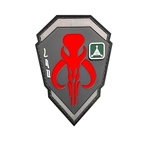 Ohrong Mandalorian Bounty Hunter Boba Fett Tactical Patches 3D PVC Rubber Morale Armband Badge Emblem Applique with Hook Backing (Red)