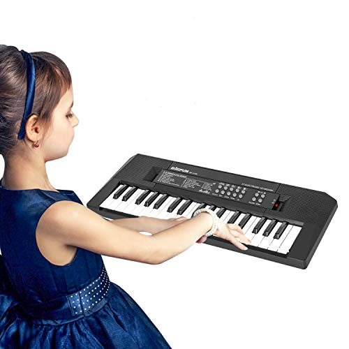 Kids Piano with Microphone 37 Keys Electronic Piano Keyboard Music Keyboard Piano Educational Toy Gift for Girls Boys Beginners Age 3-6 Years Old (Black)