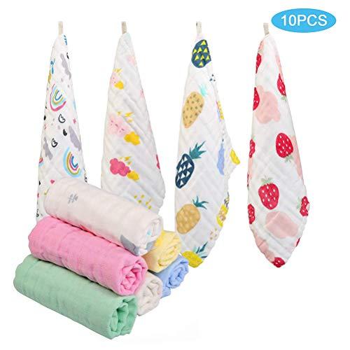 Baby Tücher, 10 STÜCKE Baby Musselin Tücher Platz Weiche Babytücher Wiederverwendbare Baumwolltücher