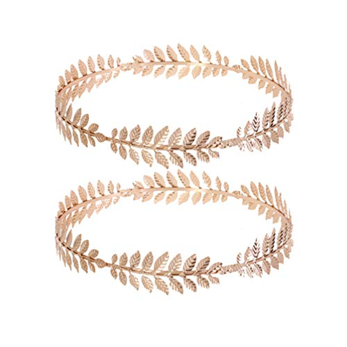 Lurrose 2 piezas diadema de hoja griega corona de laurel corona de hoja de oro romana diadema metal boho joyería de pelo para mujer hombres