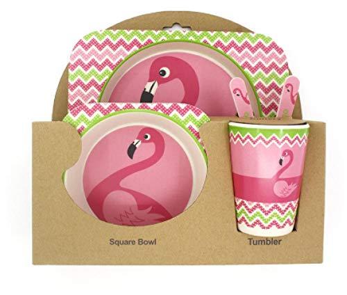 Children's Gift Bamboo Fiber Children's Tableware Set Creative Cartoon Bowl tie Food Table Fork Cup-Flamingo