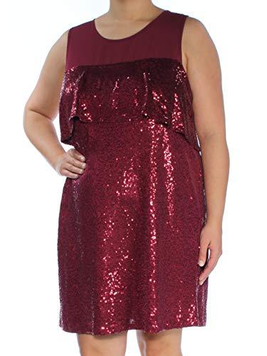 kensie Women's Sequin Sleeveless Ruffle Dress, Cherry Wood, L