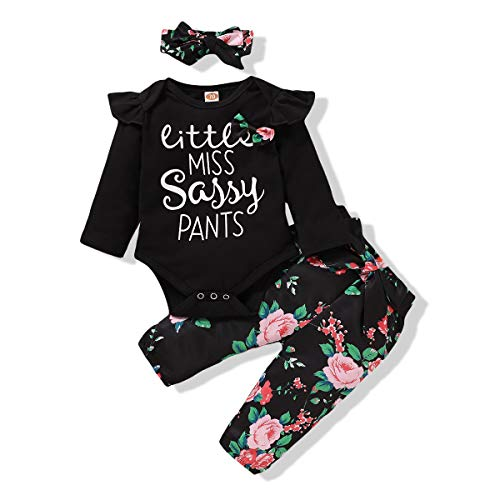 NZRVAWS Infant Baby Girl Clothes Ruffle Long Sleeve Letter Print Floral Flower Pants Headband Fall Winter 3 Piece Outfits 3-6M Black