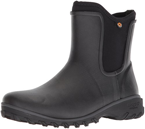 Bogs Women's Sauvie Slip On Boot Waterproof Garden Rain, Black, 9 M US