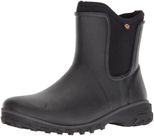 BOGS Women's Sauvie Slip On Boot Waterproof Garden Rain, Black, 9 M US