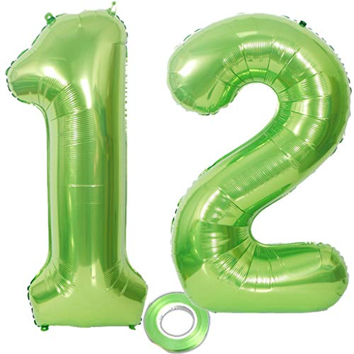 2 Luftballons Zahl 12 Grün , Nummer 12 Luftballon Grün Mädchen , Luftballons Zahl 12 Geburtstag XXXL Grün Riesen Folienballon 40 zoll,40
