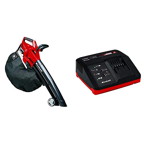 Einhell GE-CL 36 Li E Solo - Aspirador-soplador de Hojas con tecnología Power X-Change 2x18V + 4512011 - Cargador Power X-Change 18 V