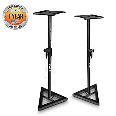 "Pyle Sonos Speaker Stand Pair of Sound Play 1 & 3 Holder - Telescoping Height Adjustable From 26"" - 52"""" High Heavy Duty Three Pt. Triangle Base W/ Floor Spikes & 9"" Square Platform by Sound Around"