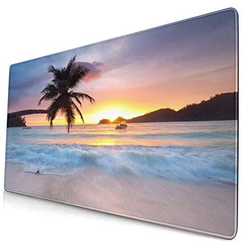 Nettes Mauspad ,Palmenschattenbild bei Sonnenuntergang,Insel Mahe,Rechteckiges rutschfestes Gummi-Mauspad für den Desktop,Gamer-Schreibtischmatte,15,8 'x 29,5'