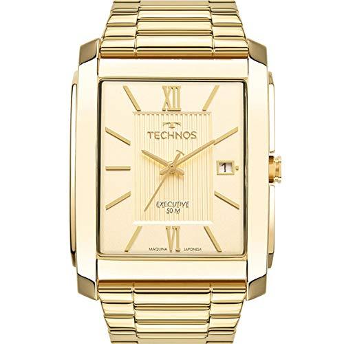 Relógio Technos Masculino Ref: 2115mww/1d Retangular Dourado