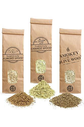 Smokey Olive Wood SOW 3X Räucherchips: 300mL Olivenholz, 300mL Mandelholz und 300mL Orangenholz. Körnung Nº1.5: für Räucherpfeife