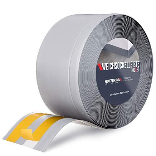HOLZBRINK Weichsockelleiste selbstklebend Grau Knickleiste, Material: PVC, 100x25mm, 5 Meter