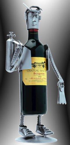 Boystoys HK Design Weinflaschenhalter Taucher - Metall Art Weinflaschen-Deko Anglergeschenke - Original Schraubenmännchen Kollektion - handgefertigte Geschenkidee