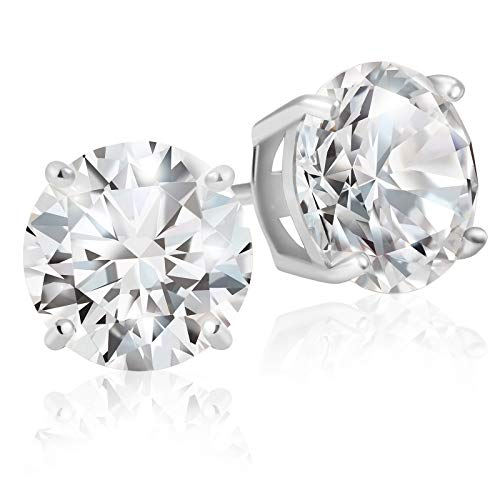 Lusoro Sterling Silver Round Cut AAA Cubic Zirconia Stud Earrings - 3 Carat Total Weight CZ