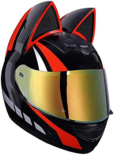 Cascos De Motocicleta De Cara Completa Con Orejas De Gato Casco De Personalidad Para Mujeres Casco Modular De Cara Completa Ciclomotor Certificado Por DOT Bicicleta De Calle Scooter Racing D,XL