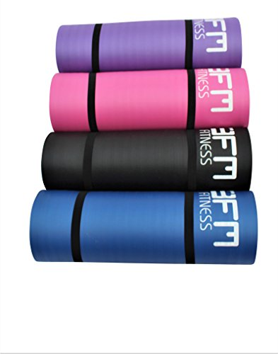 HOME HUT Large 15 mm X 19 m Thick Yoga Mat Pilates Gymnastics Exercise with Carrier Strap Blue