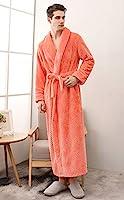 メンズローブ、女性のためのウルトラソフビぬいぐるみフランネルバスローブ、暖かく居心地の良いビッグとトールロングバスローブクリスマスのギフト,オレンジ色,3XL