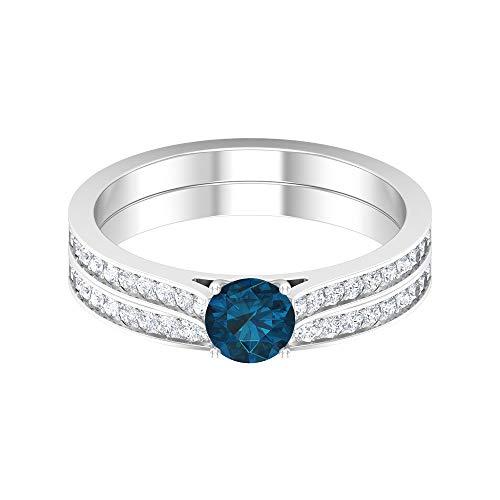 Anillo solitario de 1/2 quilates con topacio azul Londres, 1,3 mm, diamante HI-SI, anillo de eternidad, anillo de boda de oro (5 mm, forma redonda, 14K White Gold, London Blue Topaz, Size:US 48