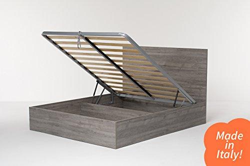 Cangù, Hi Box Letto Contenitore, Rovere Grigio, 160 x 190 cm