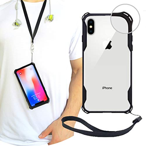 New iPhone X/XS Clear Slim Case with Wrist Strap & Lanyard   Best Rugged TPU Bumper Case   Strong Loop Hole Attachments for Leash, Tether Holder etc (Black, iPhone X/XS)