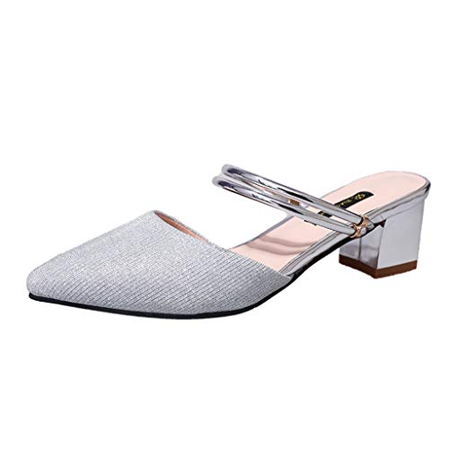 Zegeey Damen Sandalen High Heels Spitz Closed Toe Geschlossene Sandalen Slingback Pumps Mit Blockabsatz Silber (Silber,39 EU)