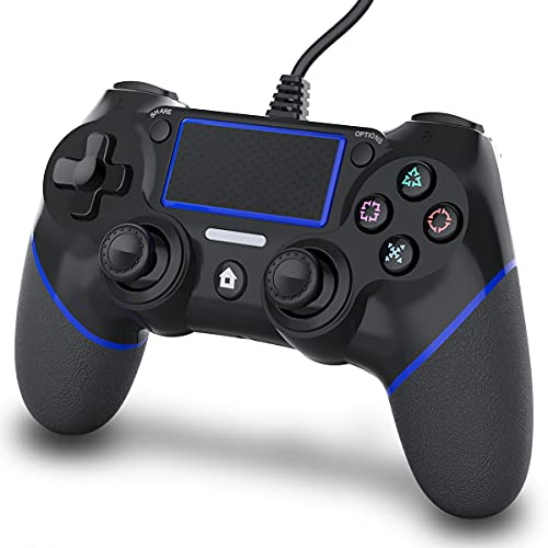 OKHAHA Wired PS4 Controller, Wired Controller for Playstation 4, Wired Controller for PC, Dual Vibration Shock Upgraded Joystick Gamepad for PS4/PS4 Slim/PS4 Pro and PC (Black/Blue)