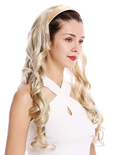 WIG ME UP ® - TYW60871H-22 Mi-perruque postiche extension serre-tête blond cendré blond boucles très long 70 cm