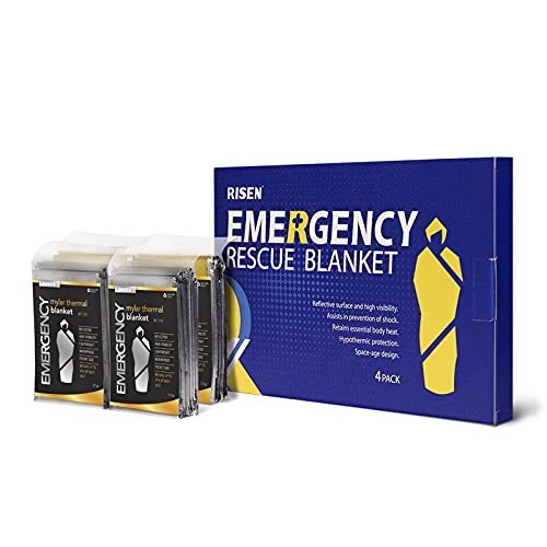 RISEN Emergency Foil Mylar Thermal Blankets - Retains 90% of Body Heat, High Reflective Space Safety Blanket - Ideal Supply for Survival, Outdoors, Camping, Hiking, First Aid (4 Silver)