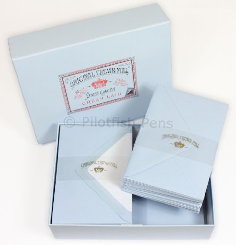 Crown Mill Luxury Letter Writing Paper Stationery Set/Box Blue NEW