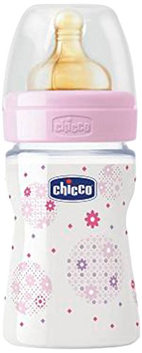 Chicco Trinklernflasche mit Kautschuk Sauger Babyflasche mit Gummi-Zitze Rosa